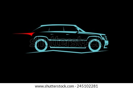stylized off-road car - stock photo