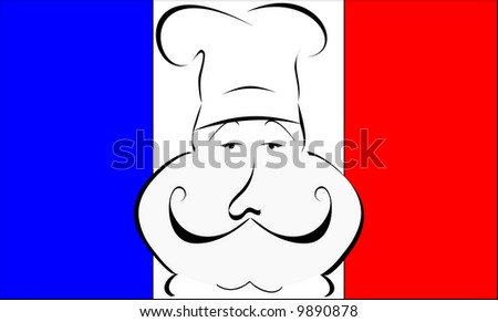 stylized or abstract Chef with hat in front of a French flag - stock photo