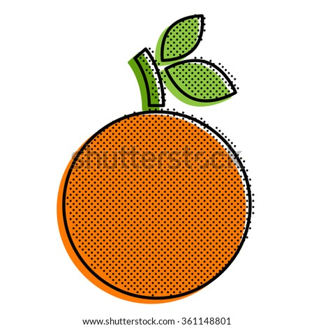 Stylized orange with a point texture. Pop-art style .
