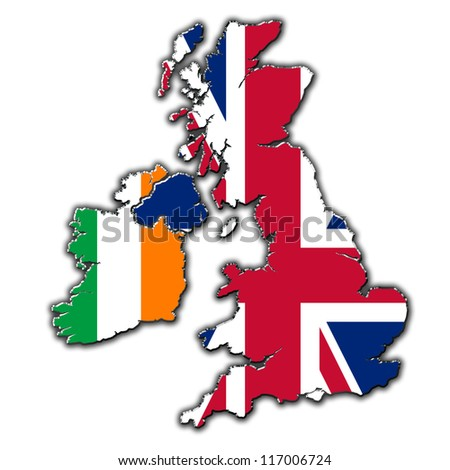 Stylized outline map of United Kingdom and Ireland covered in flags