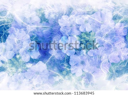 stylized picture - icebound flowers - stock photo