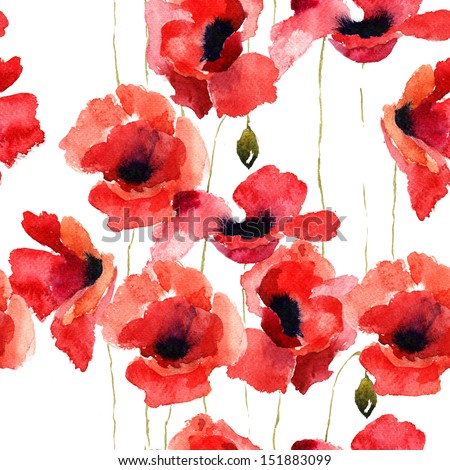 Stylized Poppy flowers illustration, seamless pattern - stock photo