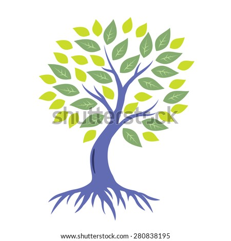 Stylized raster tree with roots - stock photo