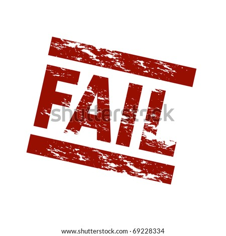 Stylized red stamp showing the term fail. All on white background. - stock photo