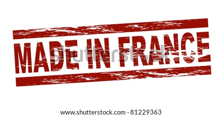Stylized red stamp showing the term made in france. All on white background.