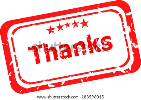 Stylized red stamp showing the term thanks. All on white background