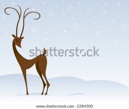 Stylized reindeer stands in the snow, surrounded by snowflakes - stock photo