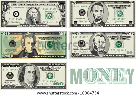 Stylized representations of money - stock photo