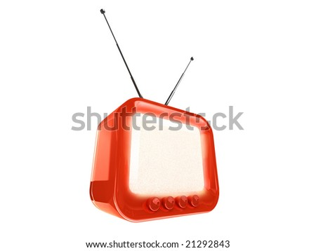 stylized retro TV - clipping path - stock photo
