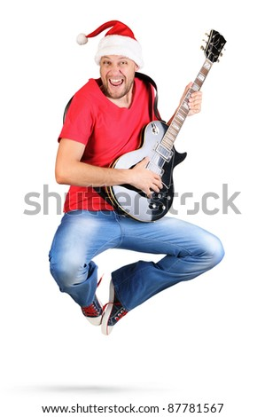 Stylized Santa Claus guitarist jump on white background - stock photo