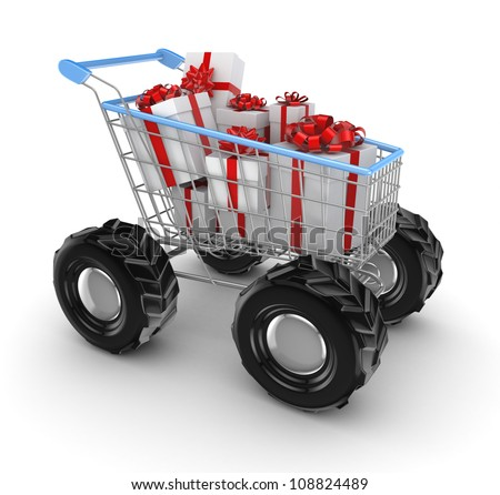 Stylized shopping trolley with a gift boxes.Isolated on white background.3d rendered. - stock photo