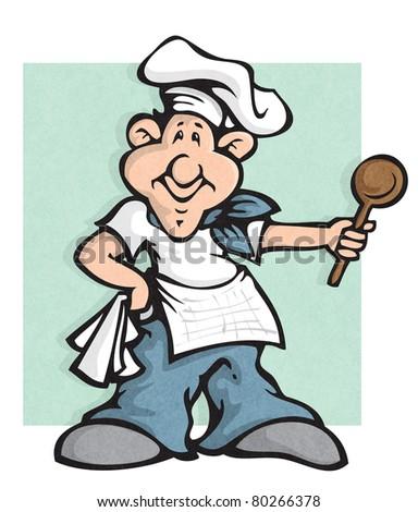 stylized smiling chef mascot (raster version) - stock photo