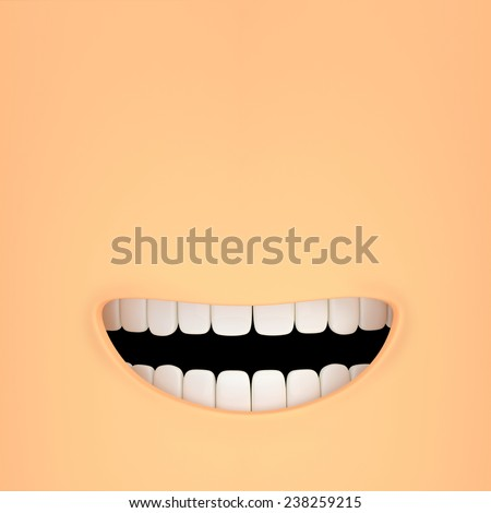 stylized smiling mouth with good white teeth - stock photo