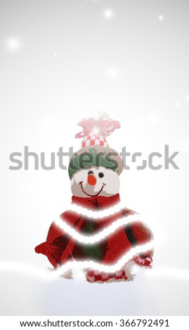Stylized snowman on a white background