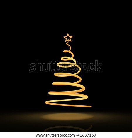 Stylized solitary Christmas tree on the black background - stock photo