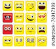 Stylized Square shaped yellow Smileys - stock photo