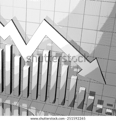 Stylized stock market chart with down arrow