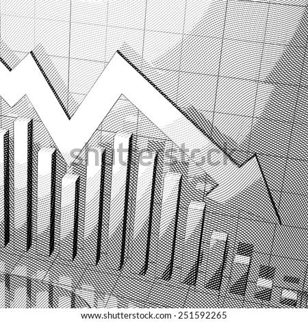 Stylized stock market chart with down arrow  - stock photo