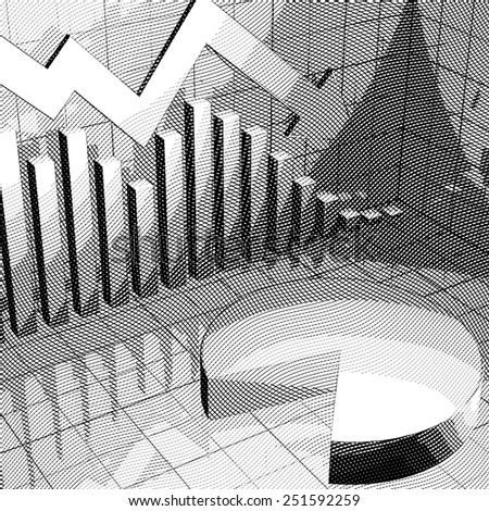 Stylized stock market chart with down arrow and pie chart. - stock photo
