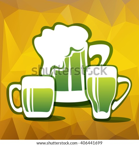 Stylized three green beer mugs on a yellow polygonal background.