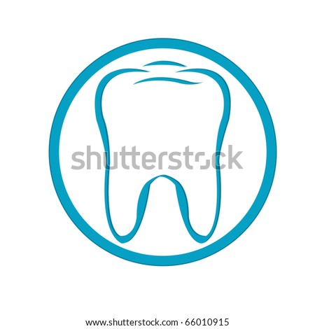 Stylized Tooth In Circle, Isolated On White Background - stock photo
