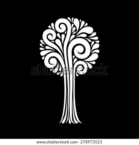 Stylized tree.  Icon and logo design template. Concept of art and creation. Decorative illustration for print and web - stock photo