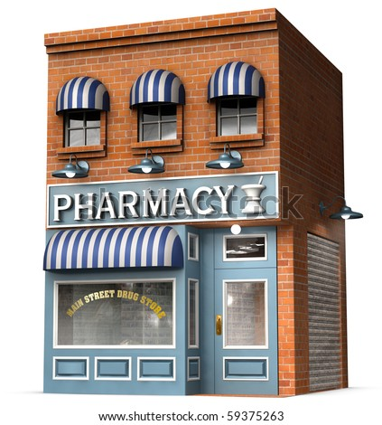 Stylized version of an iconic American drug store isolated on a white background with clipping path - stock photo