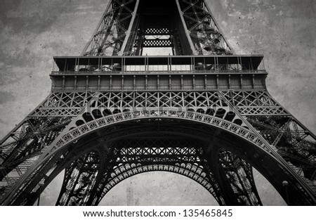 Stylized vintage detail of Eiffel Tower in France - stock photo
