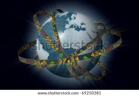 Stylized world markets with globe and orbiting ribbons displaying sliding stock market tickers - stock photo