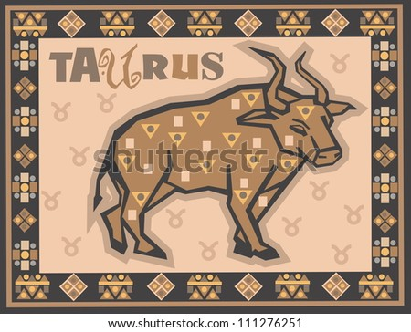 Stylized Zodiac backgrounds series. Taurus sign with symbols on a background. - stock photo