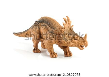 Styracosaurus dinosaur figure toy isolated on white - stock photo