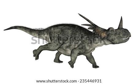 Styracosaurus dinosaur running in white background- 3D render - stock photo
