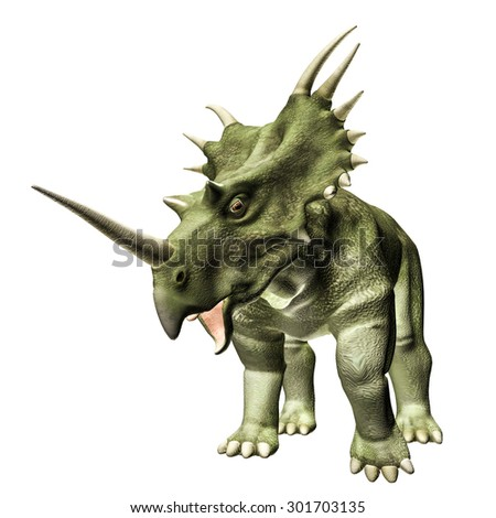 Styracosaurus isolated on white background - stock photo