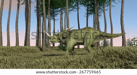 styracosaurus walking in green grass - stock photo