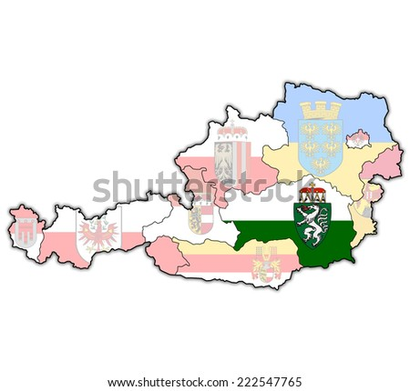 styria flag on map of austria with administrative divisions - stock photo