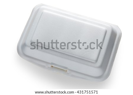 "Styrofoam food container. Foam Box Cause cancer and have ""the substance styrene (Styrene)"" hidden. - stock photo"