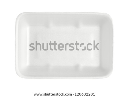 Styrofoam food tray isolated on white background