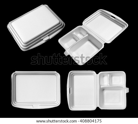 Styrofoam of food container isolated on black