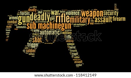 Sub machinegun info-text graphics and words cloud concept - stock photo