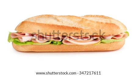 sub with ham and lettuce isolated on white background - stock photo