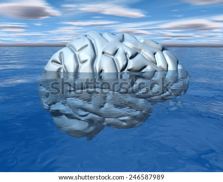 Subconscious mind concept with brain under water. - stock photo
