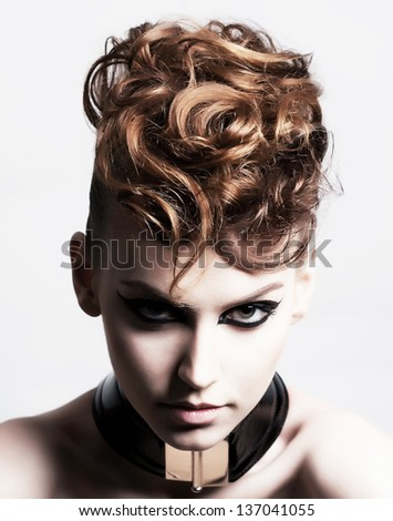 Subculture. Face of Glamorous Trendy Brunette. Expression - stock photo