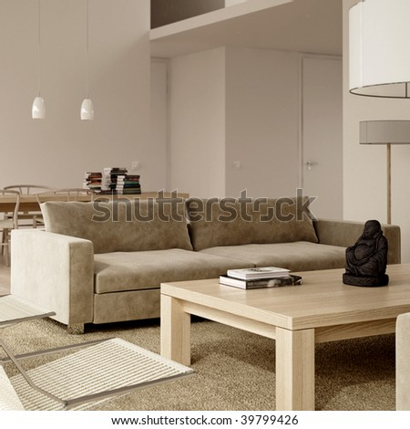 Subdued modern interior with couch, coffee table, chairs and books (3D render)