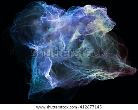 Subjective Neuron series. Backdrop design of abstract shapes, colors and elements to provide supporting composition for works on mind, virtual reality, technology, science and design - stock photo