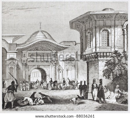 Sublime port old view, Constantinople. By unidentified author, published on Magasin Pittoresque, Paris, 1844 - stock photo