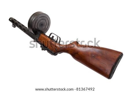 submachine gun isolated on a white background - stock photo