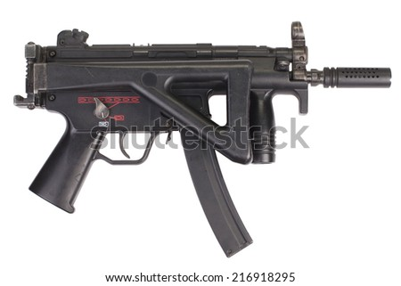 submachine gun MP5 isolated - stock photo