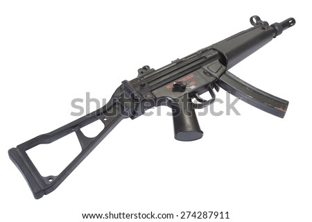 submachine gun MP5 isolated on white - stock photo