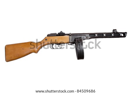 submachine gun ppsh isolated on a white background
