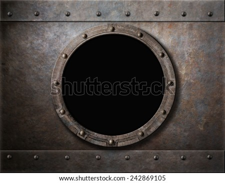 submarine armoured porthole or window metal background - stock photo